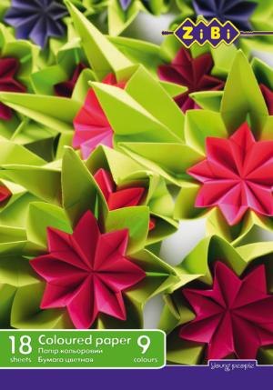 Набор цветной бумаги А4, 18 листов, 9 цветов