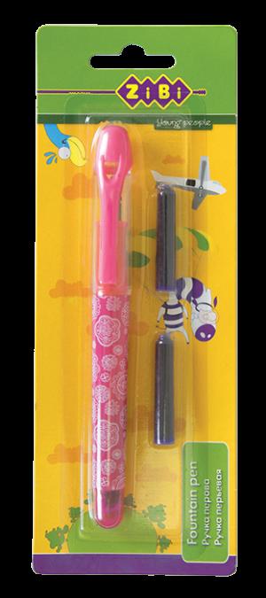Ручка перьевая с открытым пером + 2 капсулы с чернилами, розовый корпус