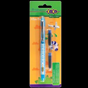 Ручка перьевая с закрытым пером + 2 капсулы с чернилами, голубой корпус