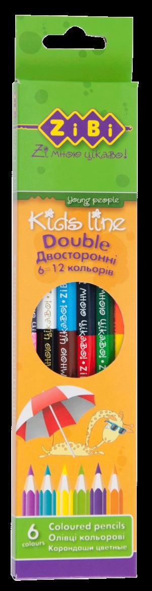 Карандаши двухцветные 6 карандашей – 12 цветов DOUBLE
