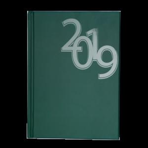 Ежедневник А5 датированный 2019 OFFICE твердая обложка, зеленый