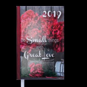 Ежедневник А6 карманный датированный 2019 ROMANTIC красный