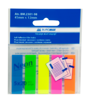 Закладки пластиковые с клейким слоем JOBMAX NEON 5х20лист, 45х12мм