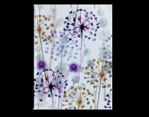 Блокнот FLORA, А6, 64л., твердая обложка, кремовый блок в клетку, фиолетовый