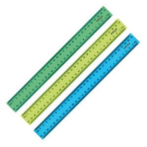 Линейка 30 см, пластиковая матовая, разноцветные (желтый, голубой, зеленый)