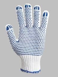 Перчатки вязаные 577, белые, 3 нитки, точка ПВХ, пара