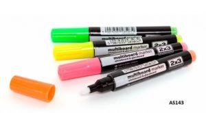 Набор флуорисцентных маркеров для стекла 4шт.