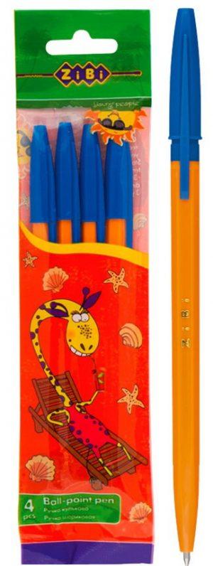 Ручка шариковая в оранжевом корпусе (4шт/уп)