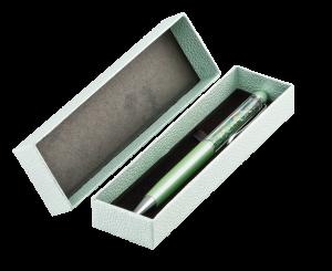 Ручка шариковая с кристаллами AD001.18L.BGR в футляре, зеленая