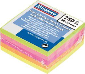 Блок бумаги с клейким слоем 50х50мм, 250л, неоновые цвета