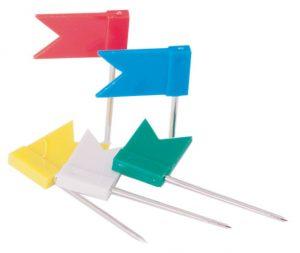 Кнопки-гвоздики ФЛАЖКИ, пластиковая коробка, 30шт