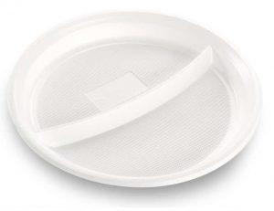 Тарелка пластиковая на 2 отделения, d-20,5см, 100шт, белая