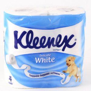 Туалетная бумага Kleenex, 2-х слойная, 4шт/уп, белая