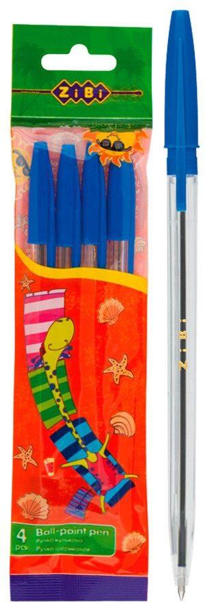 Ручка шариковая в прозрачном корпусе (4шт/уп)