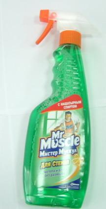 Средство для мойки стекол и зеркал Мистер МУСКУЛ, 500мл