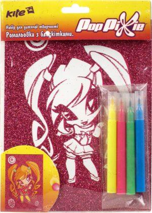 Раскраска с глиттером В6 + 4 фломастера Pop Pixie PP14-158K