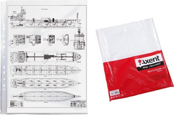 Файл для документов А3, 40мкм, глянец , 100шт. вертикальный
