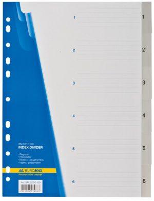 Разделители пластиковые  1-6, формат А4, серые
