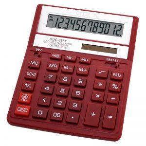 Бухгалтерский калькулятор Citizen SDC-888XBK, 12 разрядов, красный корпус