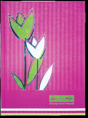 Книга канцелярская FLOWERS А4, 80 листов, твердая обложка, розовый, клетка