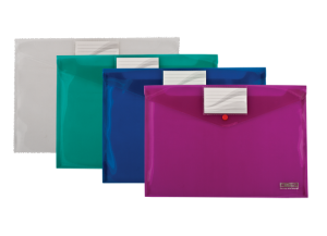 Папка-конверт на кнопке А4 с карманом 90х55мм