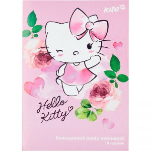 Бумага цветная неоновая 10л, 5 цв. А4 Hello Kitty HK17-252