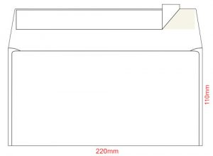 Конверт E65, размер 110х220мм, самоклейкий