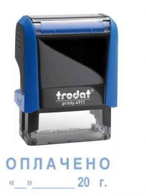 Штамп ОПЛАЧЕНО с датой на оснастке 4911-Trodat, размер 38х14мм