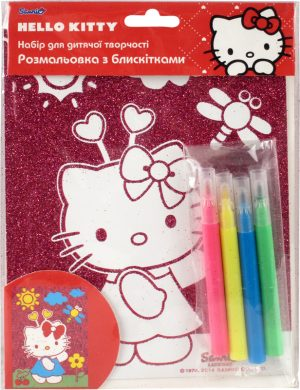 Раскраска с глиттером В6 + 4 фломастера Hello Kitty HK14-158K