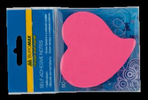 Блок бумаги СЕРДЦЕ с клейким слоем, неоновые цвета, 50листов
