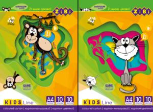 Набор цветного картона А4, 10цветов, 10 листов.