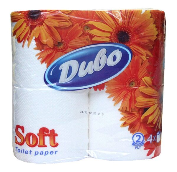 Туалетная бумага ДИВО, 2-х слойная, белая, 4 рулона в упаковке