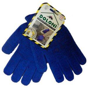 Перчатки вязаные DOLONI 646, синие, 2 нитки, точка ПВХ, пара