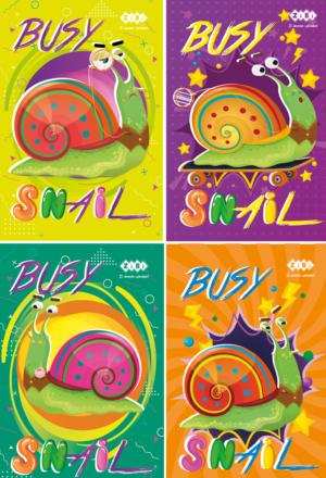 Блокнот, детский BUSY SNAIL, формат А7, 40л, на пружине, картонная обложка, в клетку