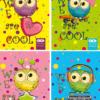 Блокнот, детский CUTE OWLS, формат А6, 40л, на пружине, картонная обложка, в клетку