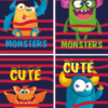 Блокнот, детский MONSTERS, формат А6, 40л, на пружине, картонная обложка, в клетку