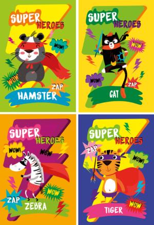 Блокнот, детский SUPER HEROES, формат А6, 40л, на пружине, картонная обложка, в клетку