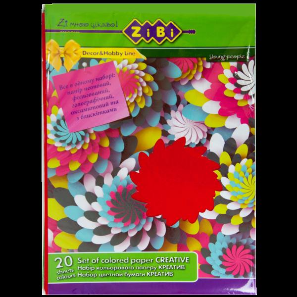 Набор цветной бумаги КРЕАТИВ А4, 20 листов, 8 цветов