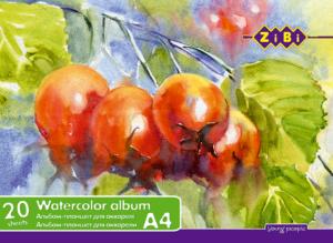 Альбом (скетчпад) А4 для рисования 20 листов, на твердой основе, клееный, для акварели