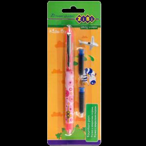 Ручка перьевая с закрытым пером + 2 капсулы с чернилами, розовый корпус