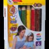 Карандаши цветные 6 цветов 3 в 1, mini SUPER JUMBO, трехгранные + точилка