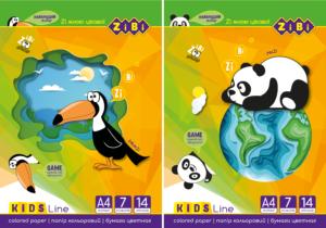 Набор цветной бумаги А4, 14 листов, 7 цветов, офсет 70г/м2, KIDS Line