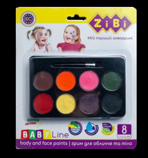 Краски для грима лица и тела ФАНТАЗИЯ на водной основе, 8 цветов + кисточка