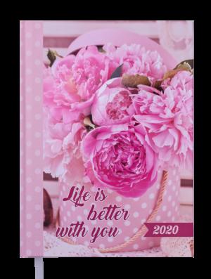 Ежедневник А5 датированный 2020 ROMANTIC, А5, розовый, твердая обложка