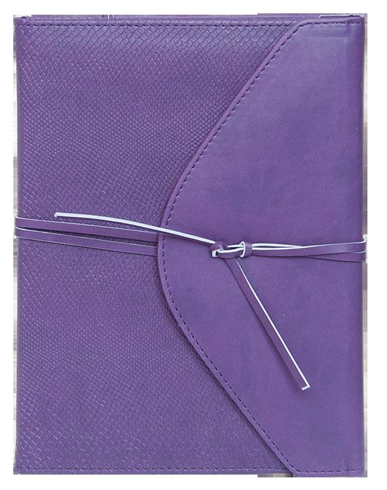 Ежедневник А5 недатированный BELLA фиолетовый, кремовый блок, на кнопке