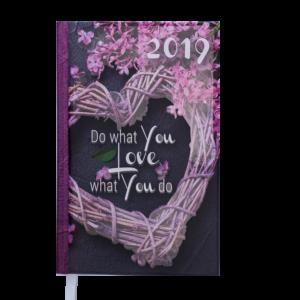 Ежедневник А6 карманный датированный 2019 ROMANTIC серый