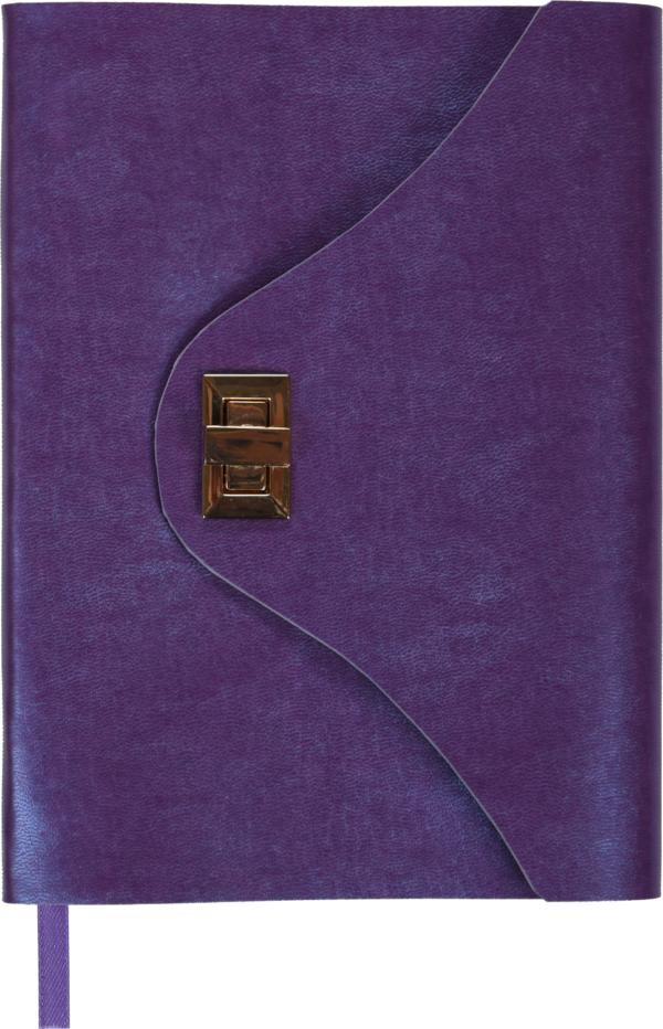 Ежедневник А5 недатированный FOREVER фиолетовый, кремовый блок, на застежке