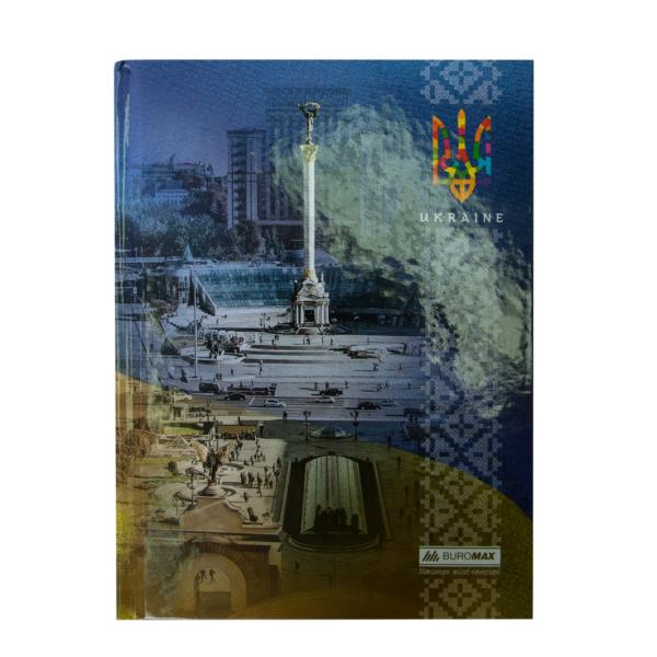 Блокнот UKRAINE, А5, 96л., твердая обложка, в клетку, синий