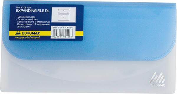Папка-конверт DL на 4 отделения,  на липучке TRAVEL (евро-формат)