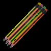 Карандаш НВ трехгранный с ластиком, черно-неоновый
